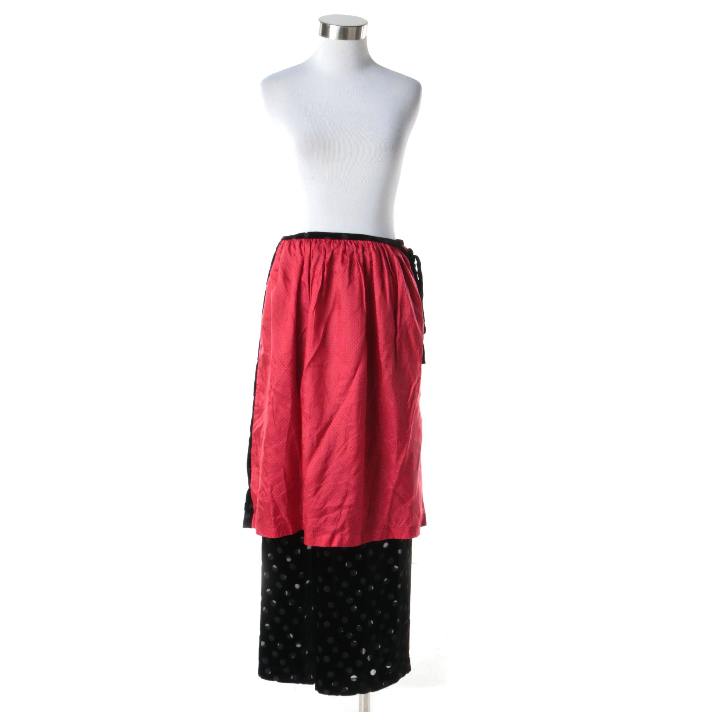 1990s Comme des Garcons Avant Garde Black Polka Dot Pants with Red Overskirt