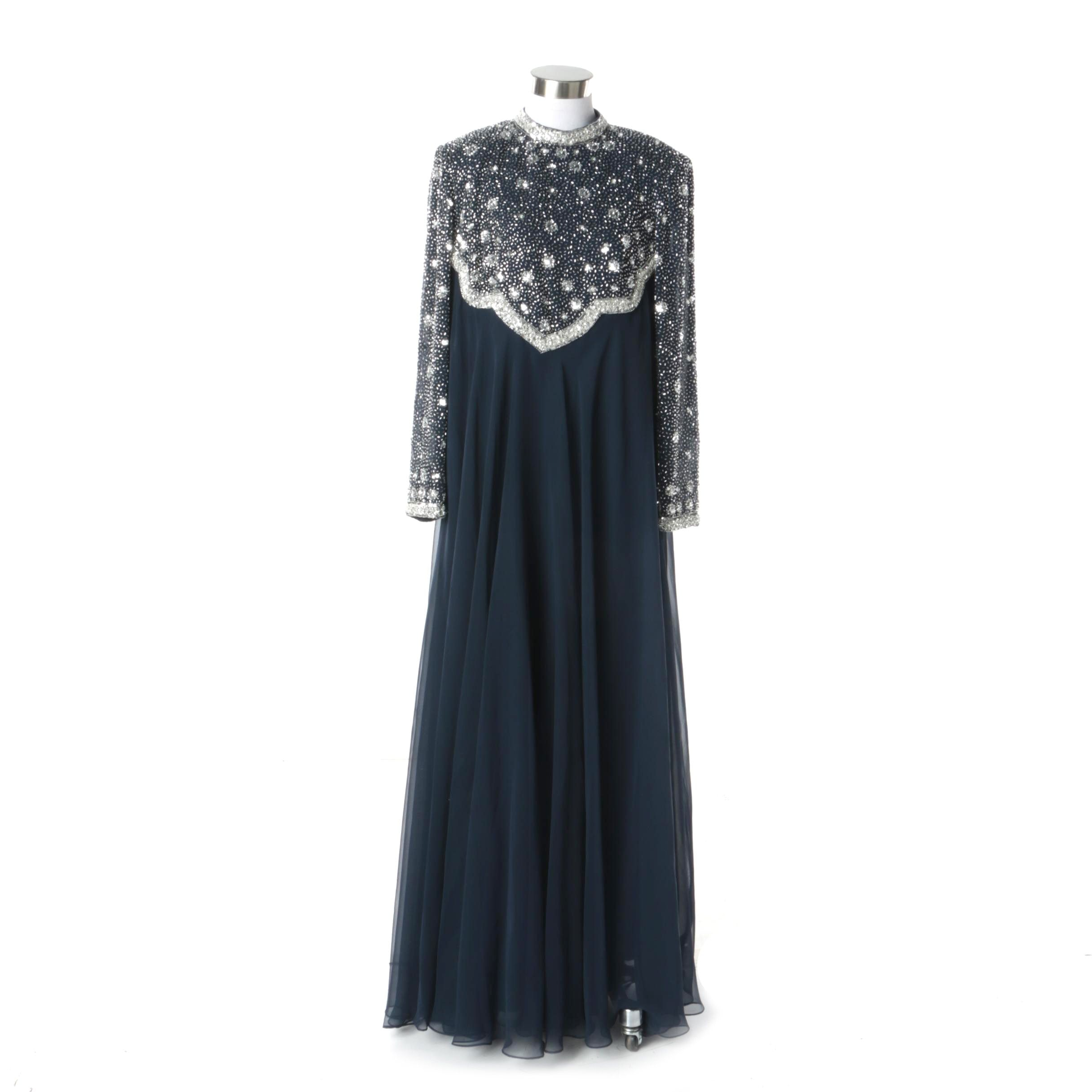 1980s George Allette Blue Silk Silver Beaded and Sequin Maxi Dress with Chiffon