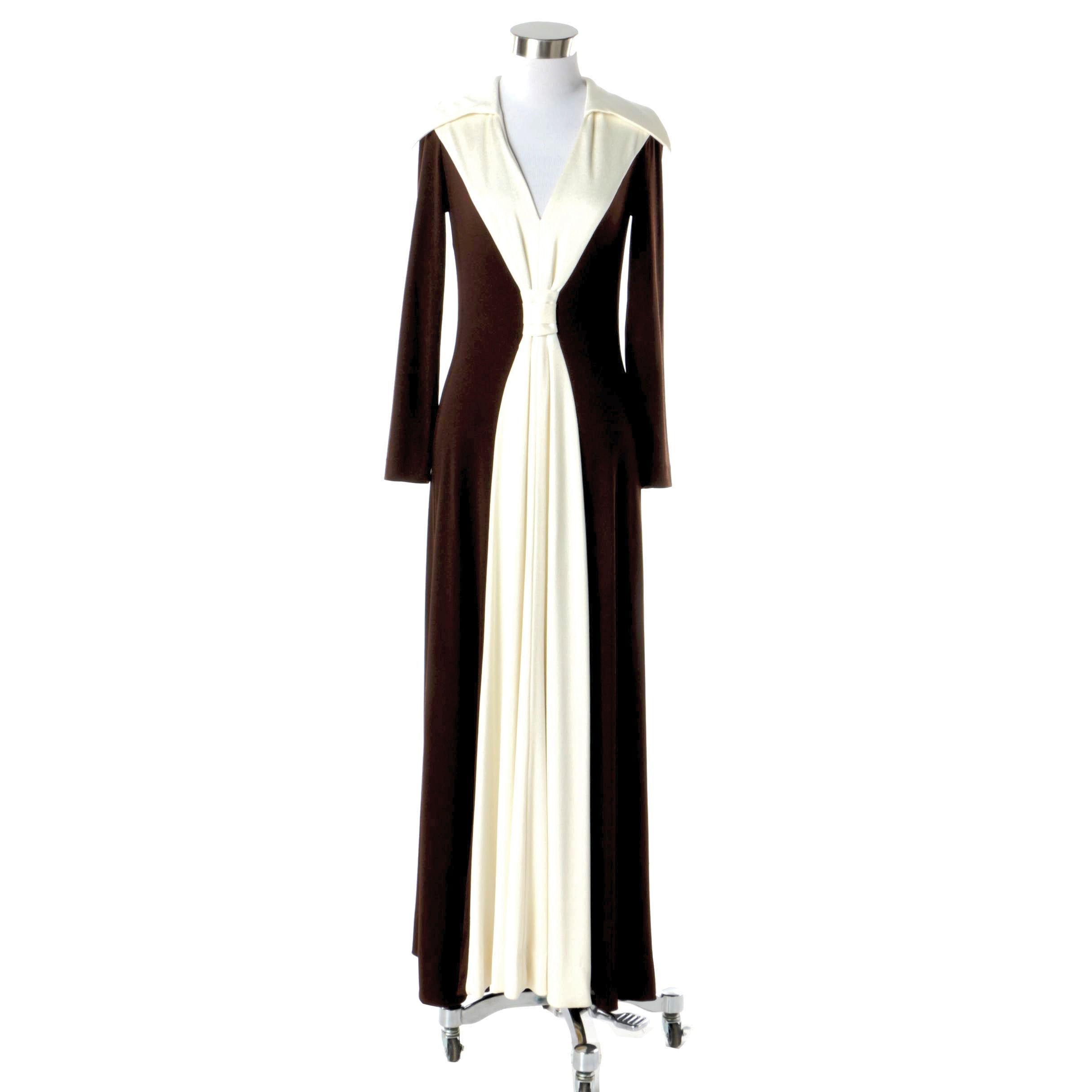 1970s Vintage The Eva Gabor Look by Estevez Maxi Dress