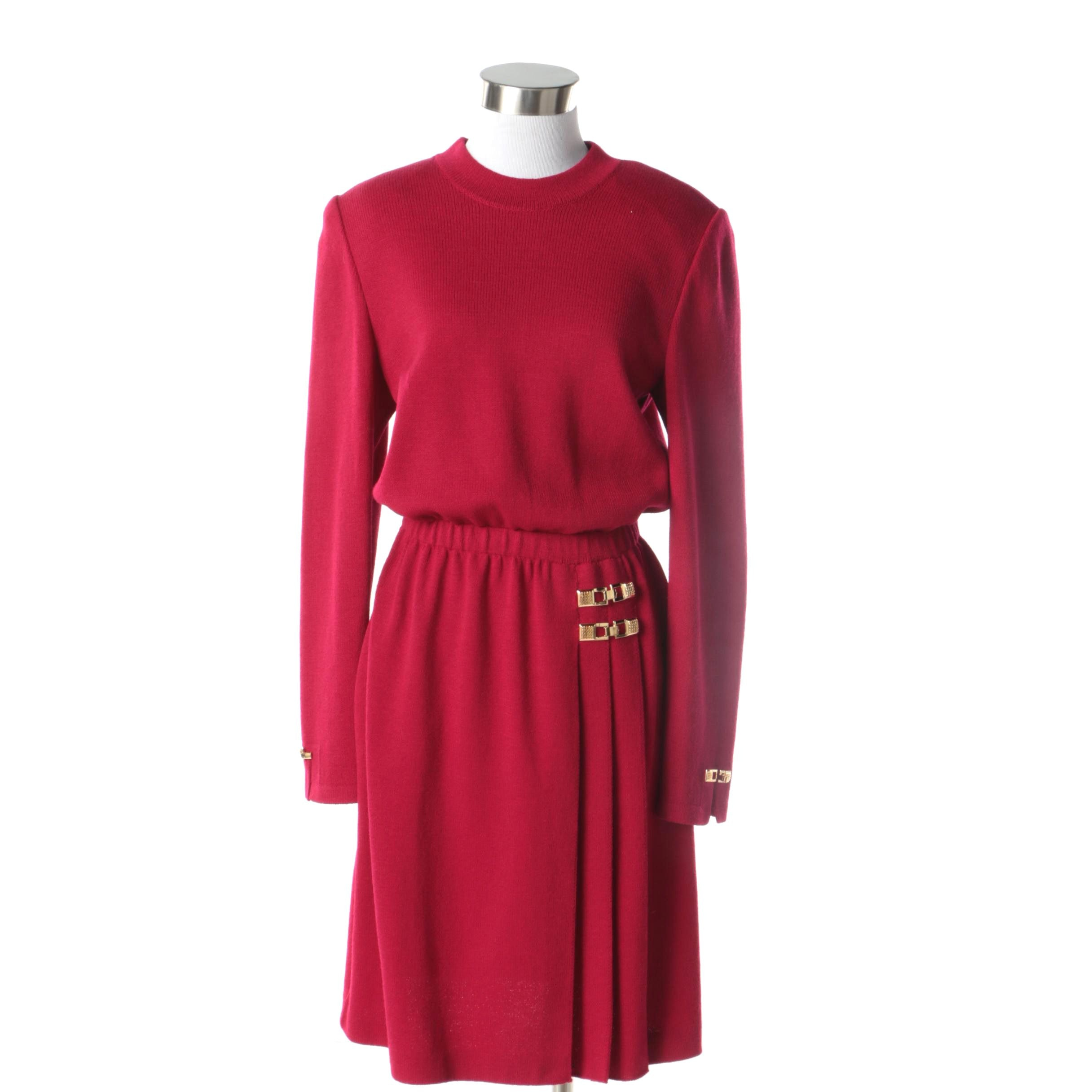 1980s Vintage St. John Couture Red Knit Dress with Gold Tone Buckle Accents