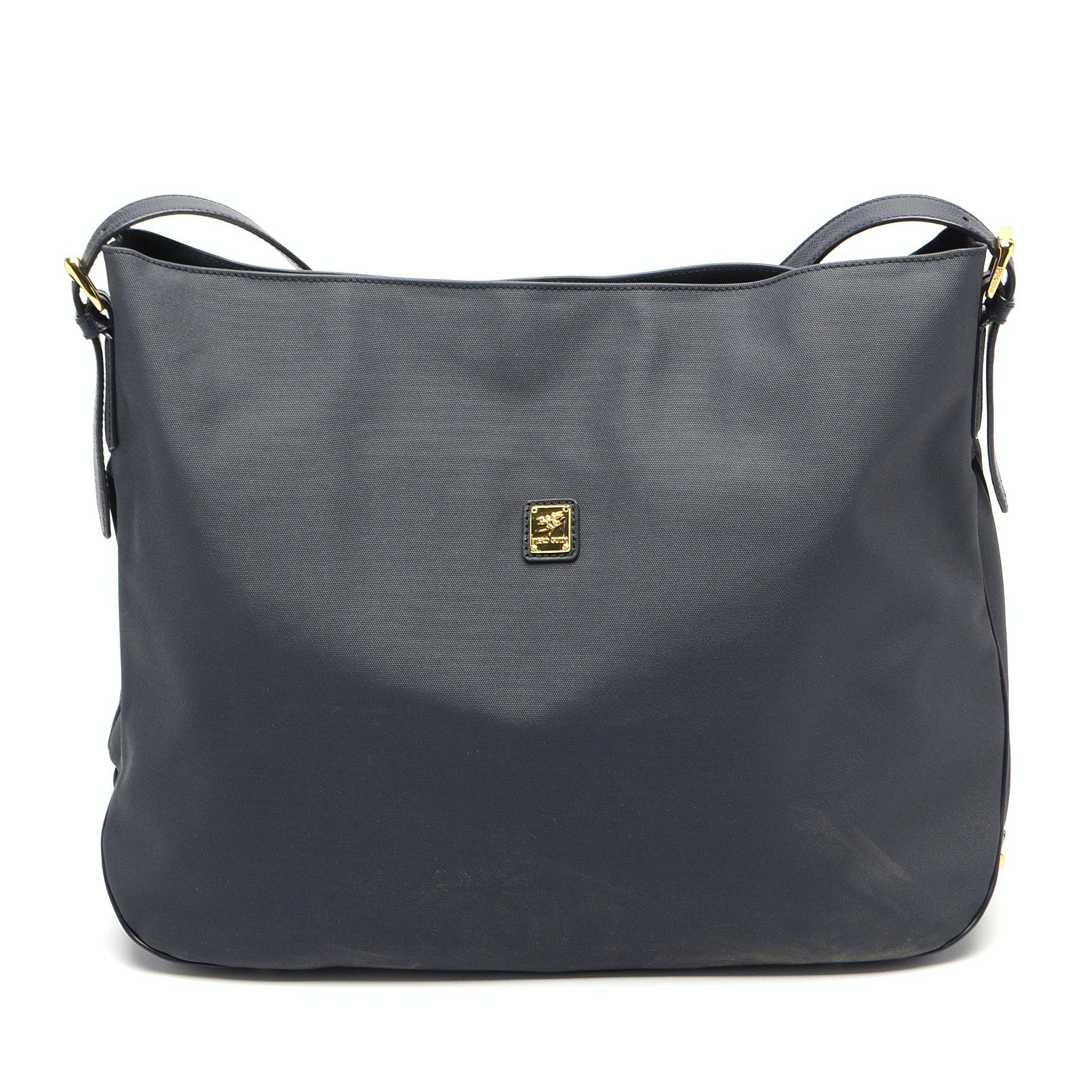 Piero Guidi Navy Blue Nylon Handbag