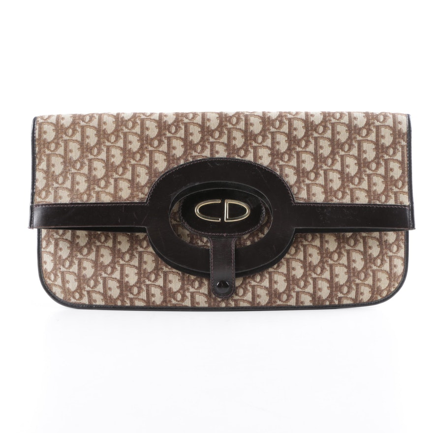 58b0c97a19 Vintage Christian Dior Trotter Monogram Canvas Convertible Clutch | EBTH