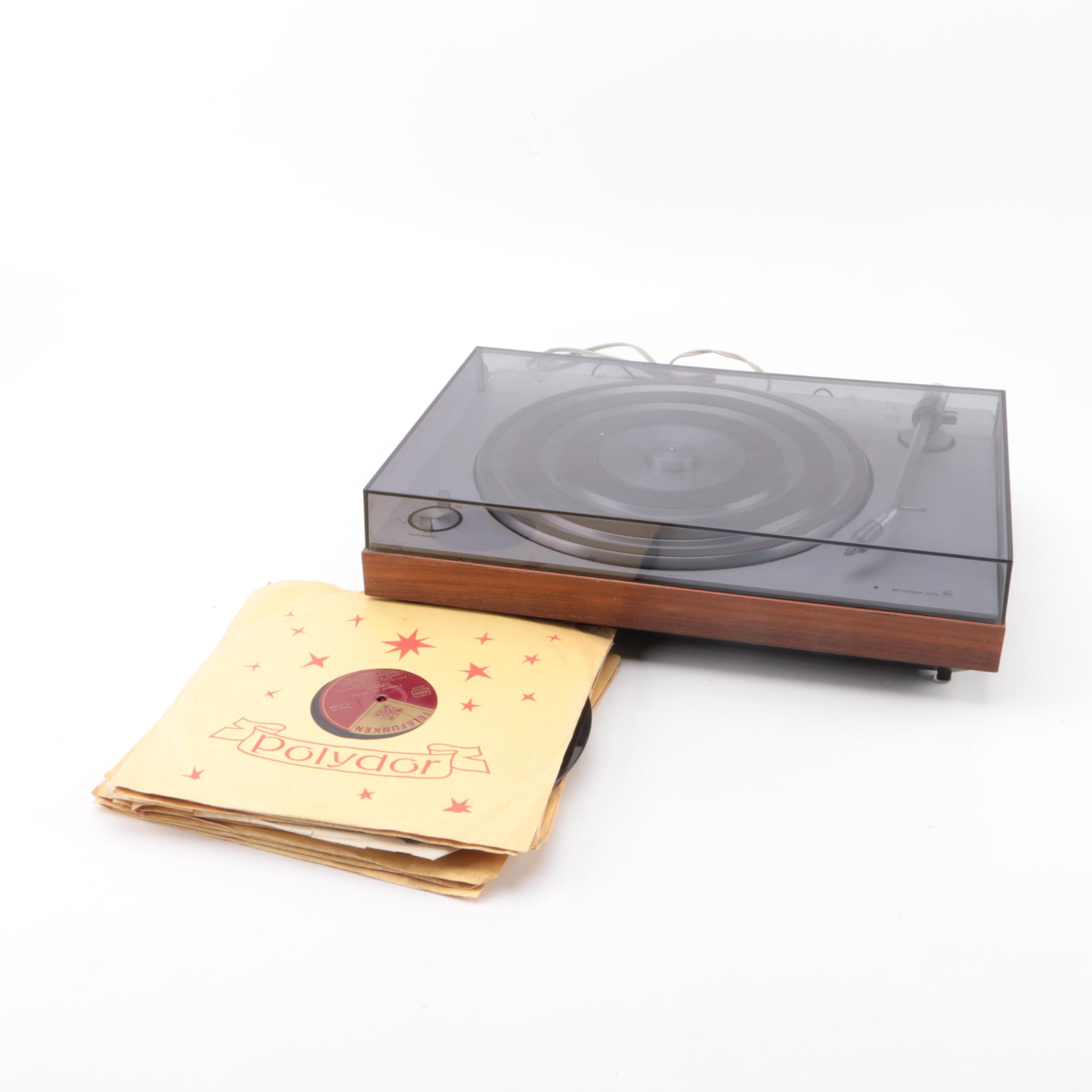 Beogram 3000 45 RPM Turntable with Vintage Records.