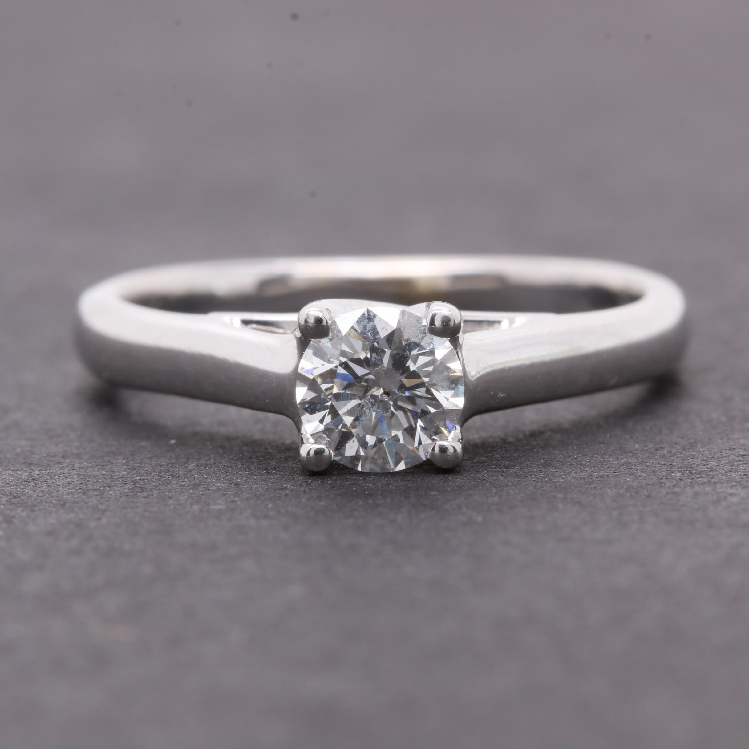 14K White Gold Diamond Solitaire Ring with Platinum Accent