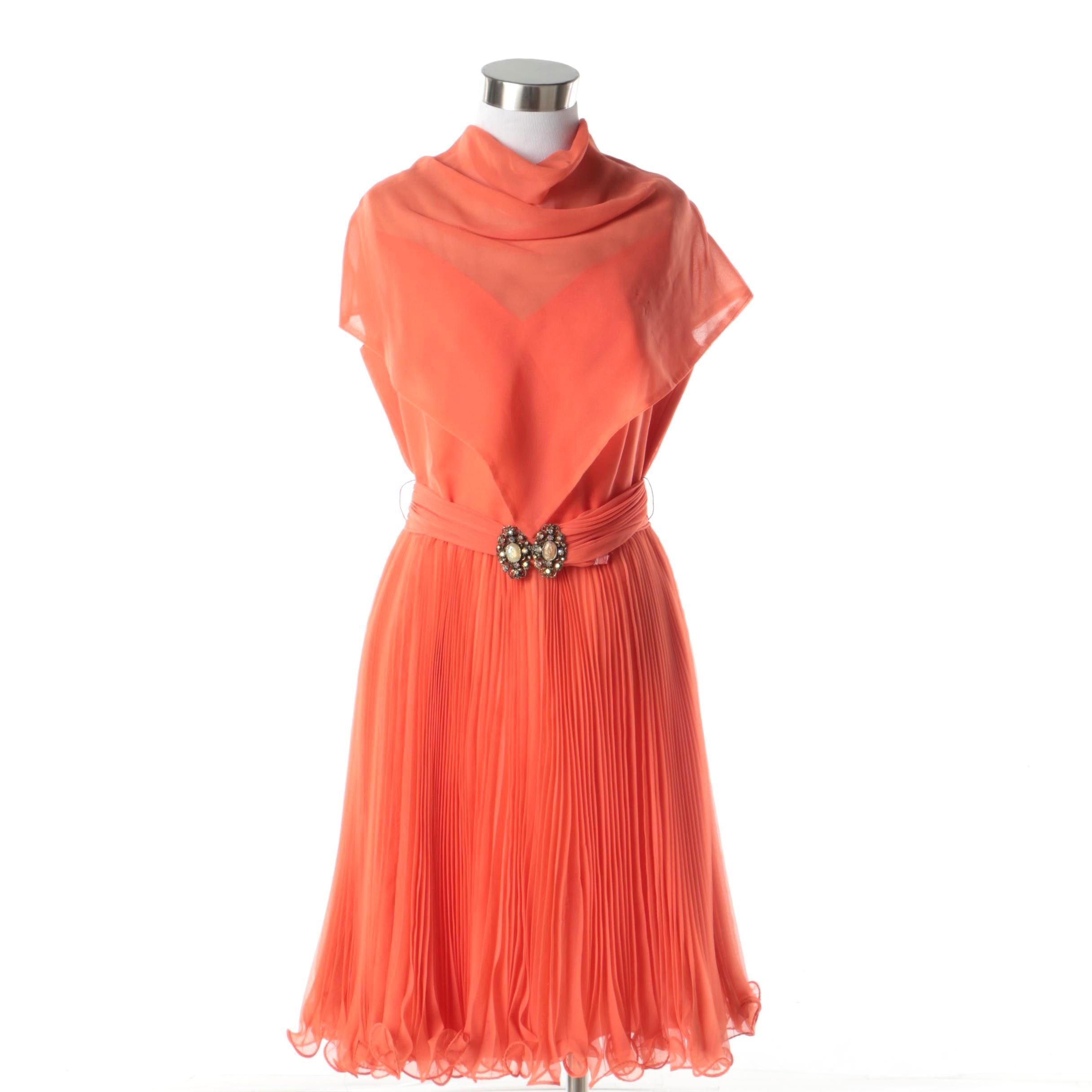 1970s Vintage Jack Bryan Orange Cocktail Dress with Chiffon Pleat Skirt