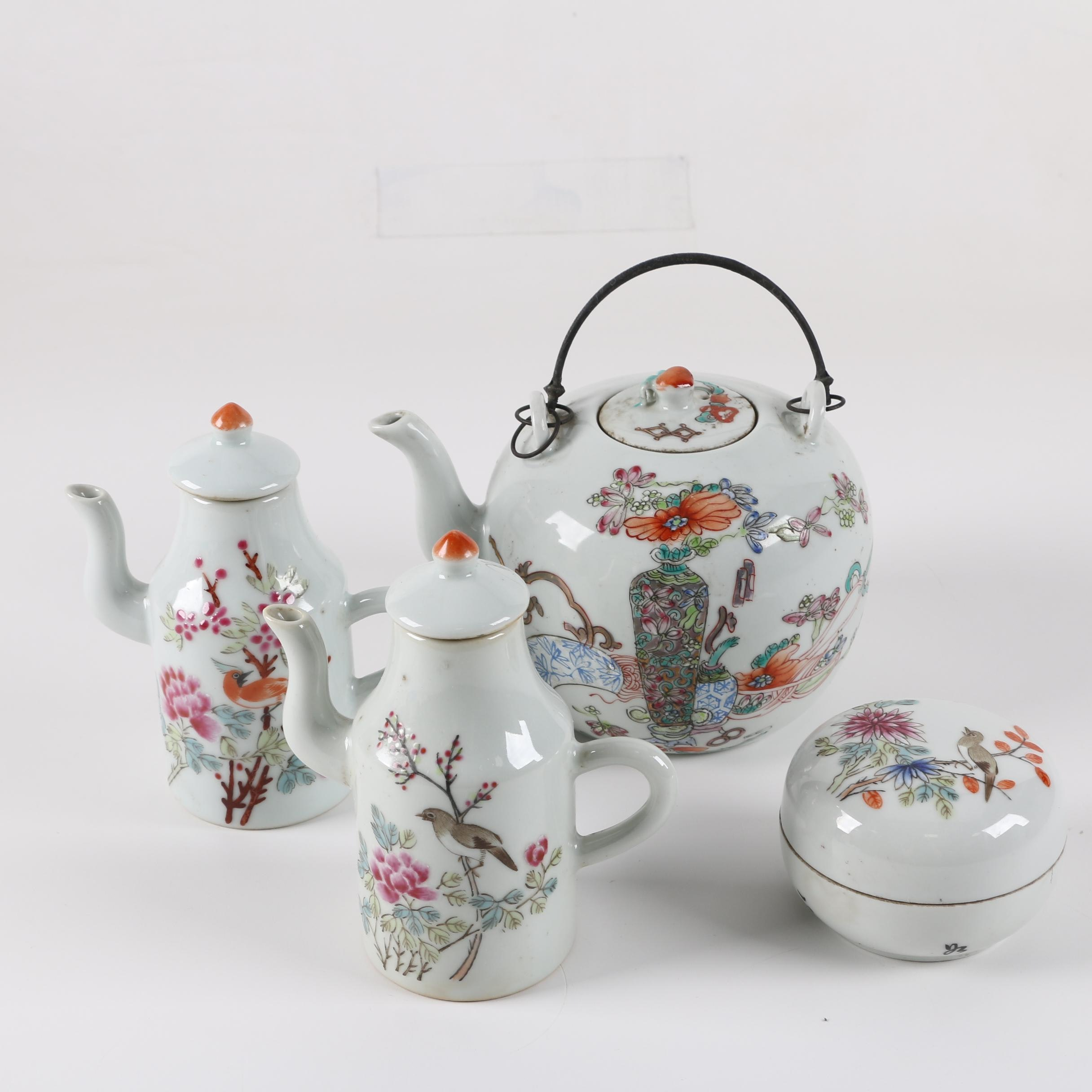 Chinese Porcelain Teapot, Creamers and Lidded Bowl