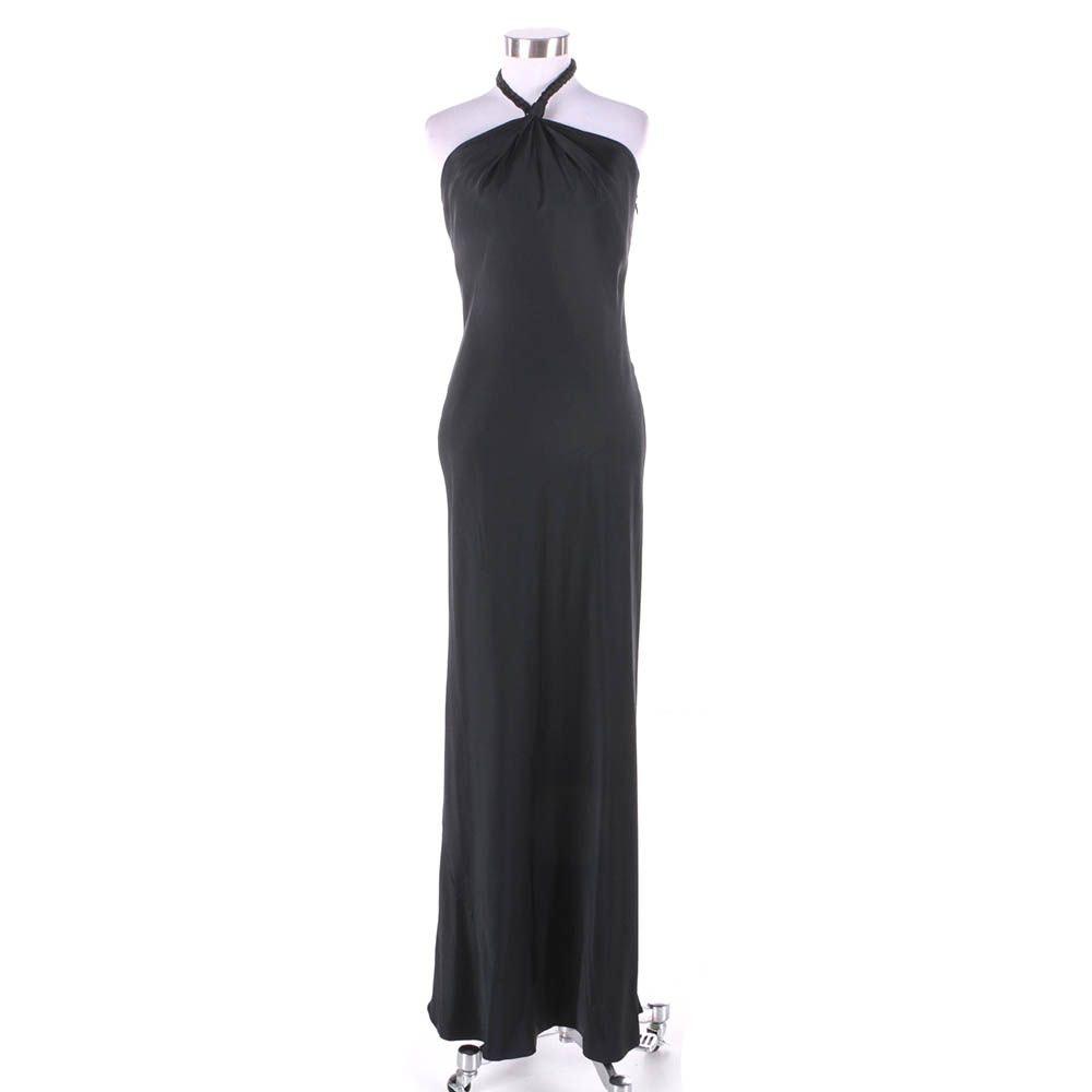 Elie Tahari Black Silk Halter Maxi Evening Dress