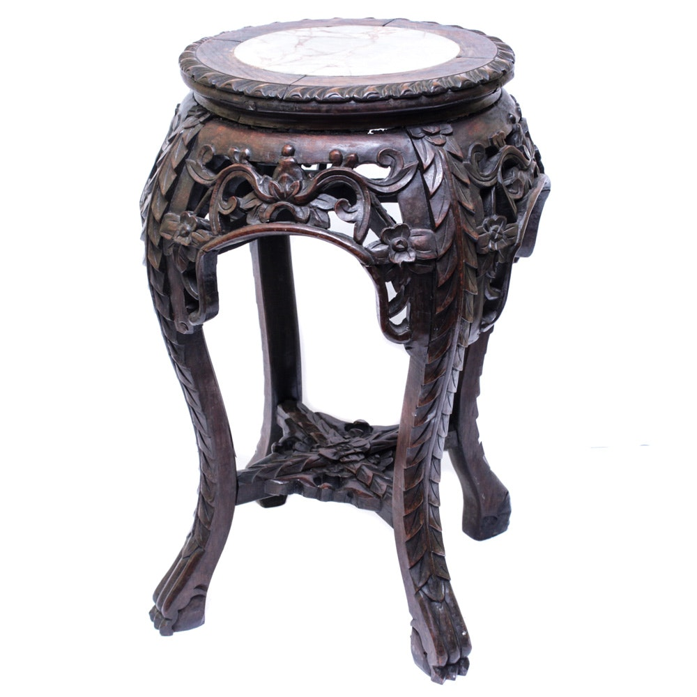 Antique Chinese Marble Top Carved Wood Plant Stand