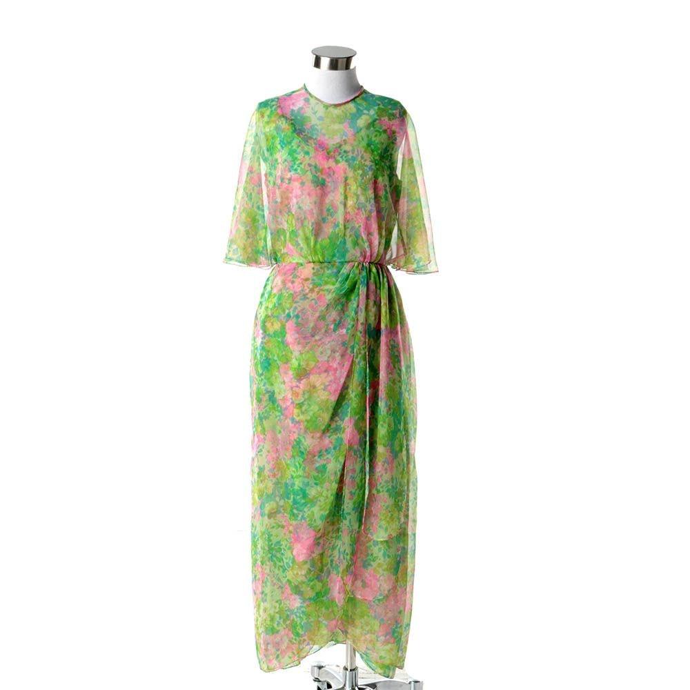 1960s Vintage Miss Elliette Pink and Green Floral Chiffon Midi Dress