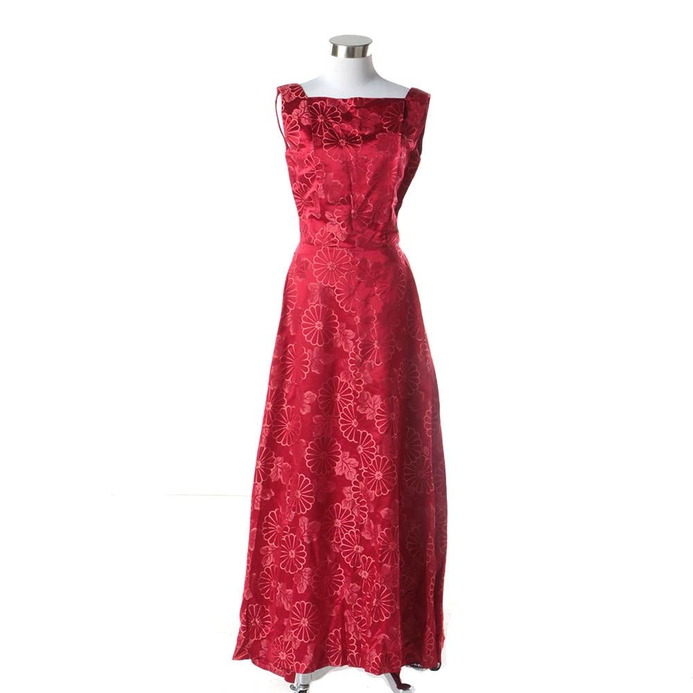 1960s Vintage Dynasty Chinese Red Silk Chrysanthemum Floral Brocade Evening Gown