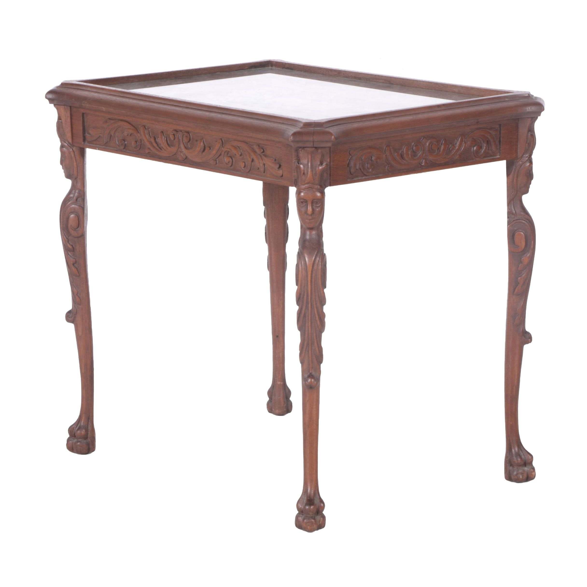 Rococo Style Carved Walnut and Glass Top Table