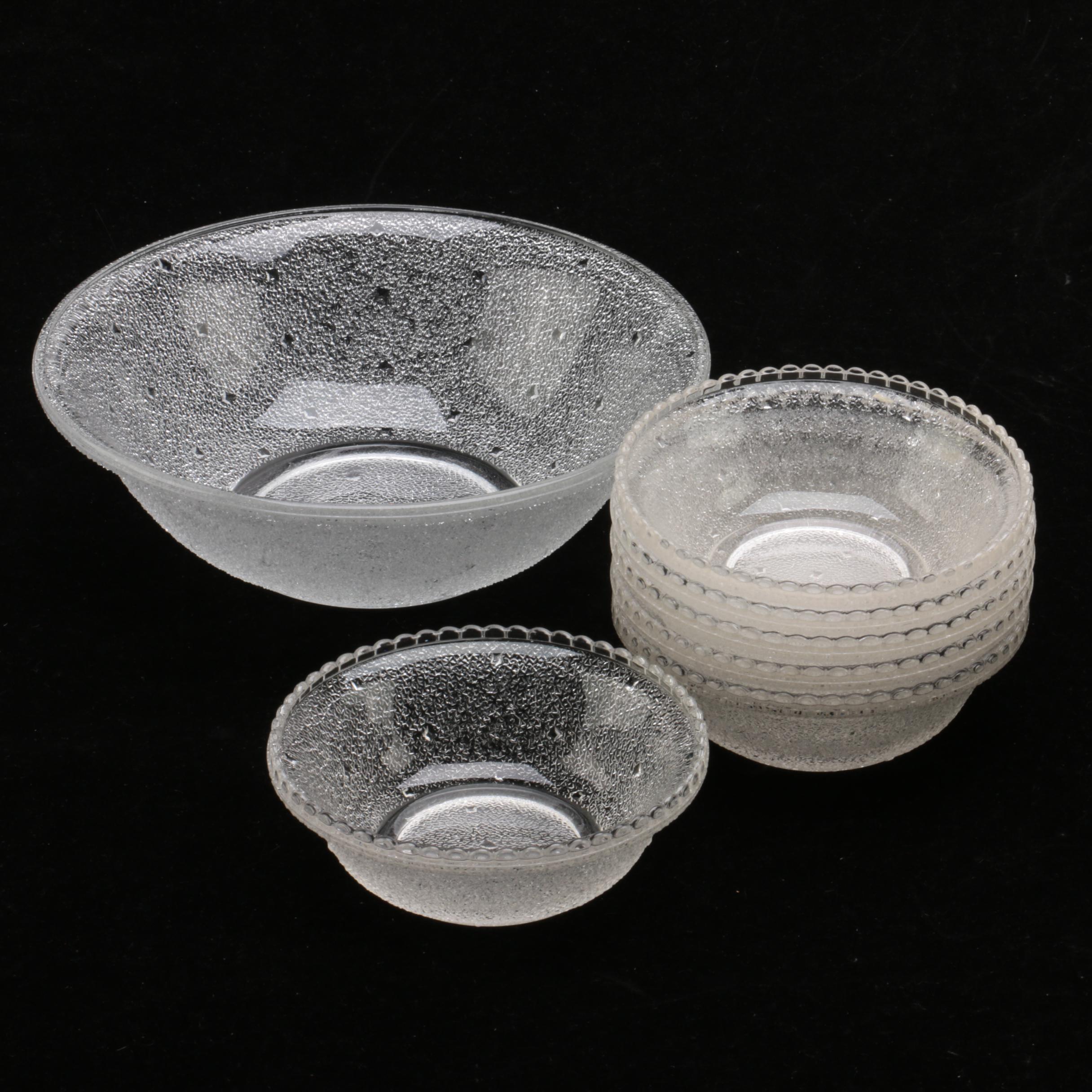 Textured Glass Serving and Dessert Bowls