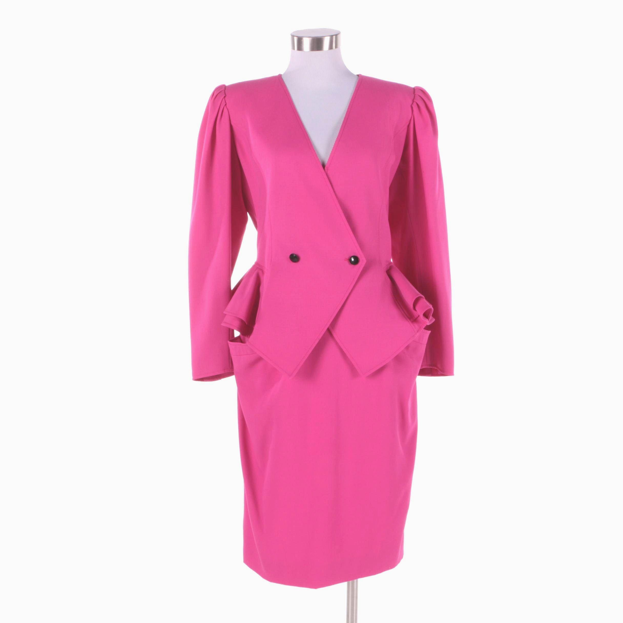 1980s Vintage Ungaro Hot Pink Skirt Suit