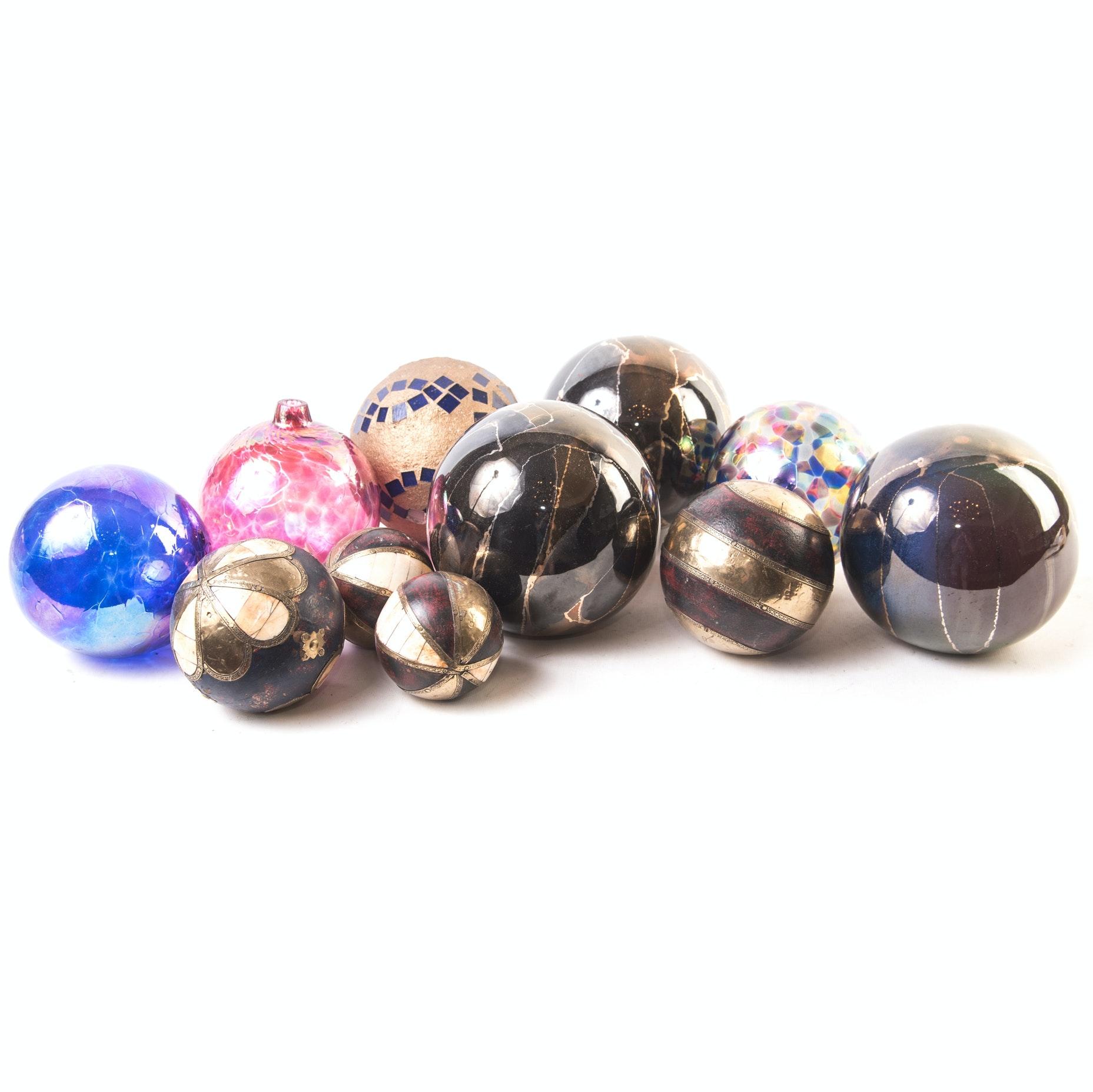 Decorative Carpet Balls and Blown Glass Ornaments