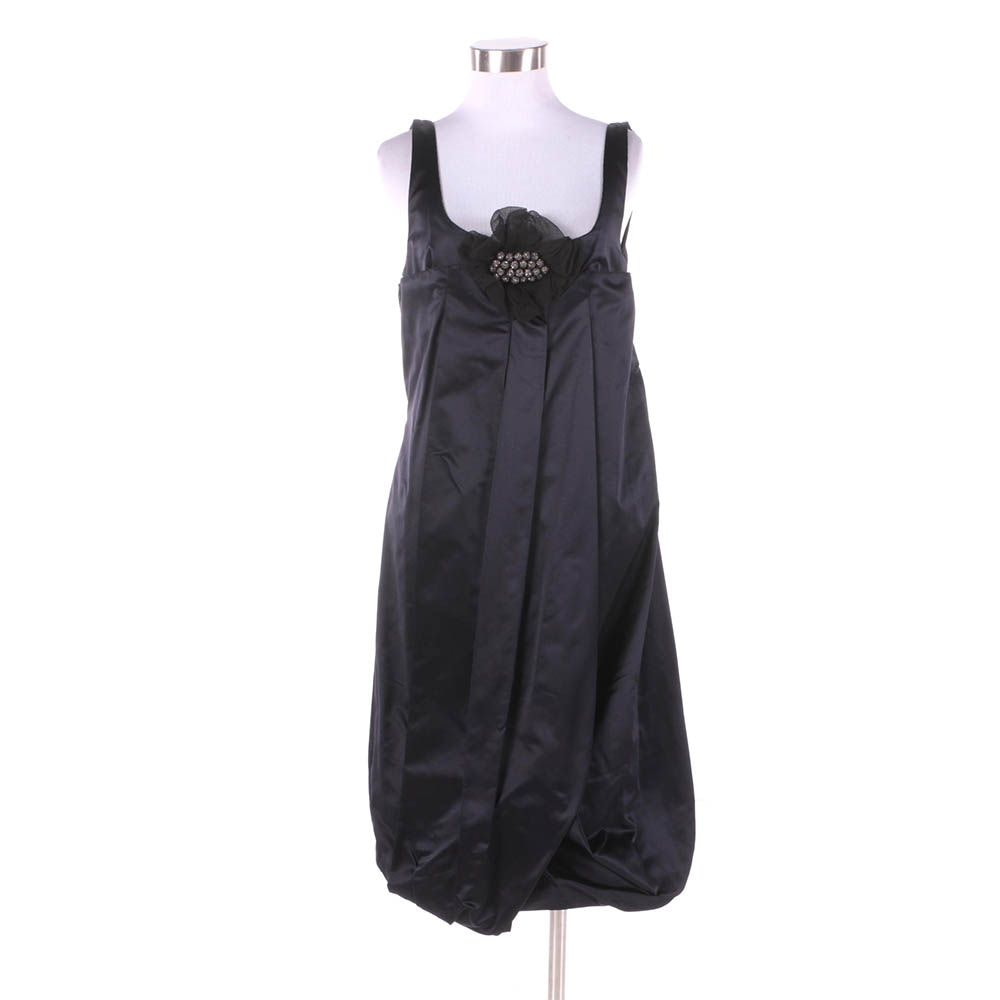 Vera Wang Dark Navy Silk Bubble Hem Sleeveless Cocktail Dress