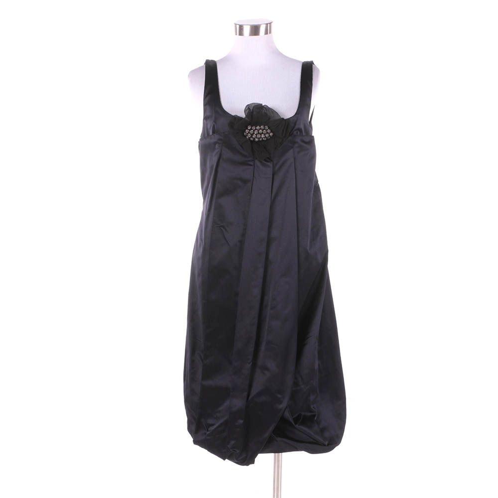 Vera Wang Dark Navy Silk Bubble Hem Sleeveless Cocktail Dress