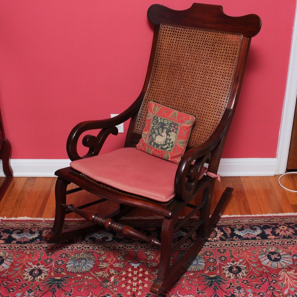 Vintage Mahogany Rocking Chair with Cane Seating