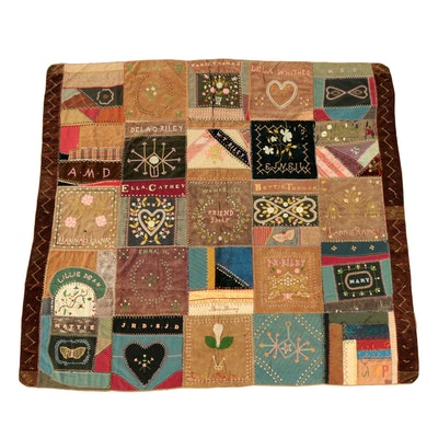 "Late 19th Century Handmade Folk Art ""Friendship"" Quilt"