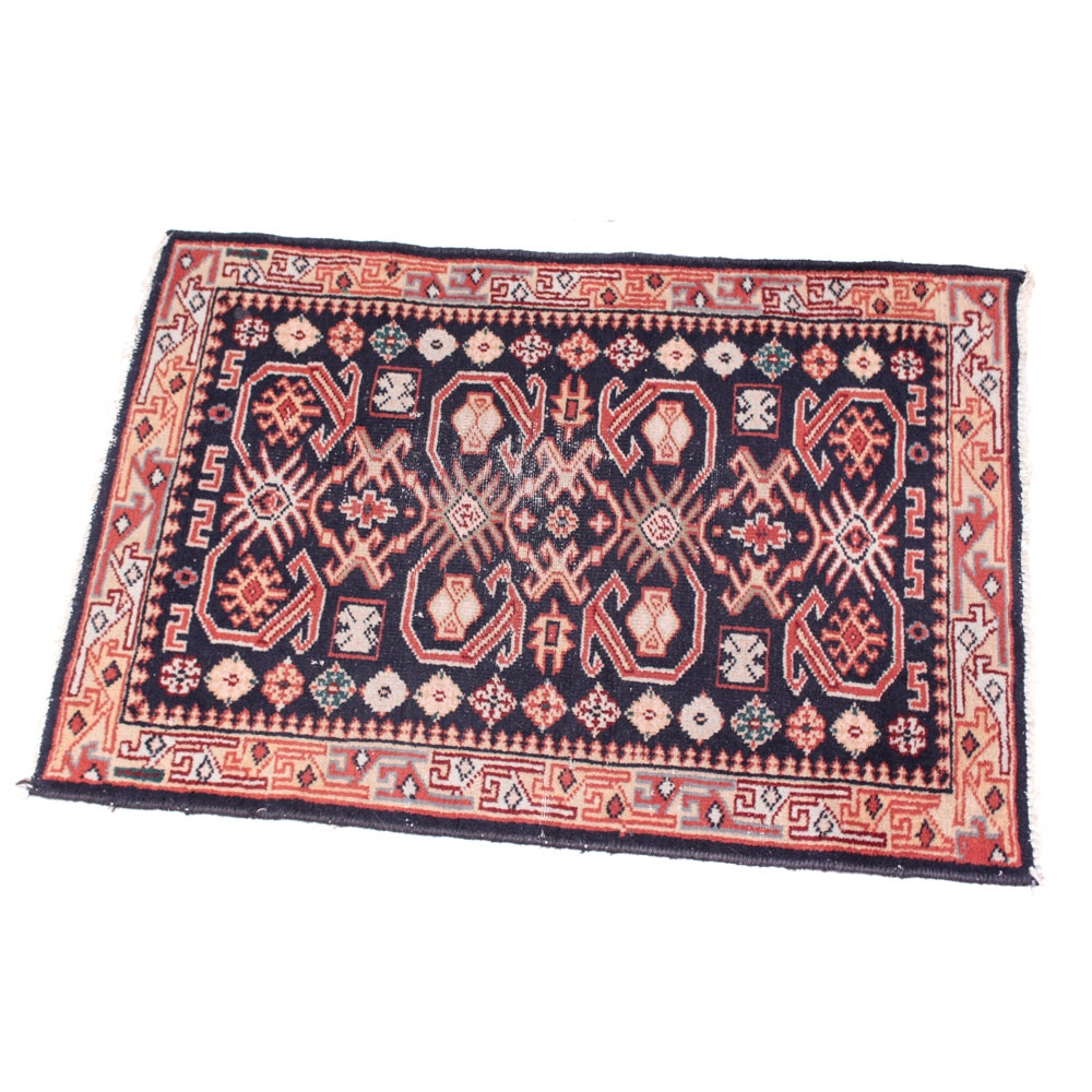 Vintage Hand-Knotted Shirvan Wool Accent Rug