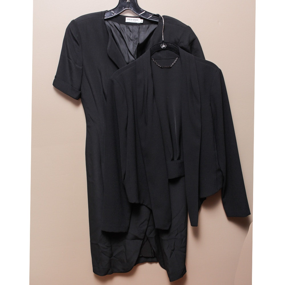 Women's Elie Tahari Black Open-Front Jacket and Giorgio Armani Black Shift Dress