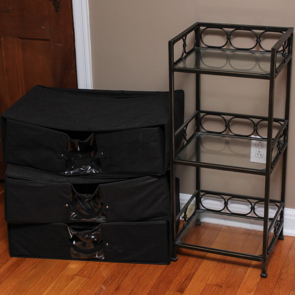 Contemporary Wrought Metal Accent Shelf