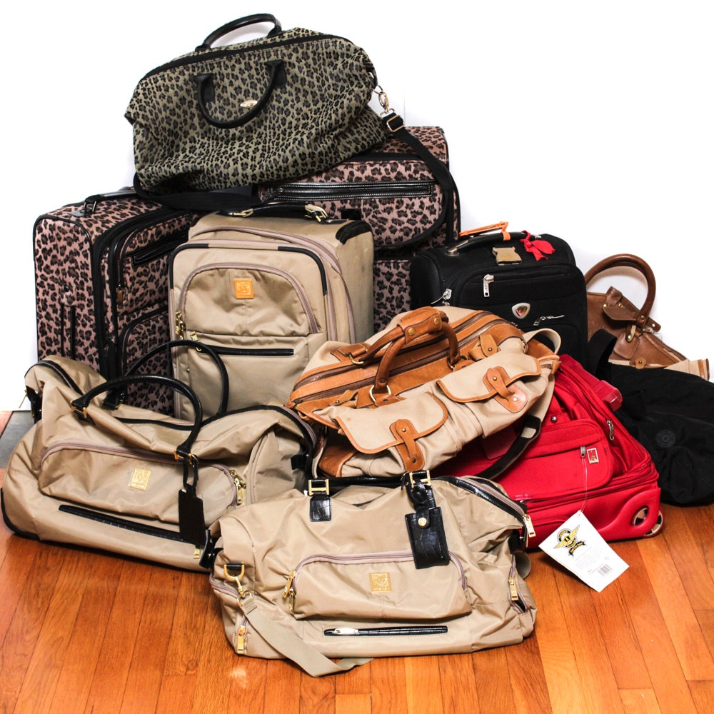 Luggage Collection Including a Marley Hodgson Ghurka Leather and Khaki Twill Bag