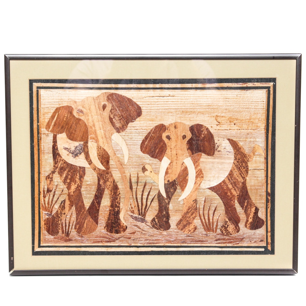 Vintage Handcrafted Rush Collage of Elephants