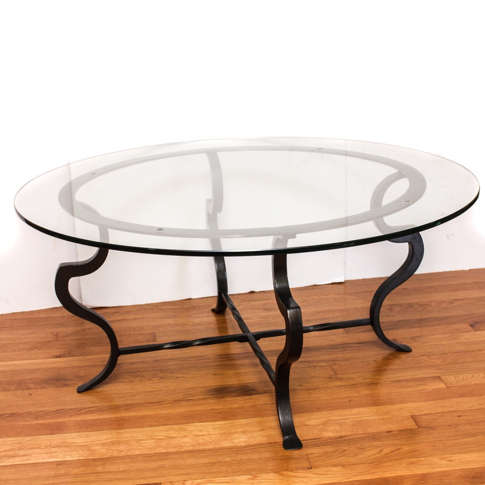Contemporary Glass Top Cast Iron Coffee Table