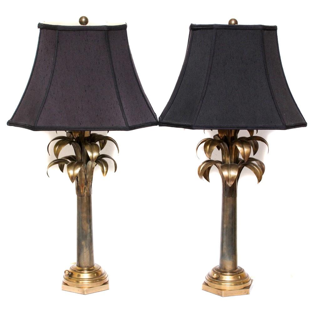 Vintage Brass Palm Leaf Table Lamps