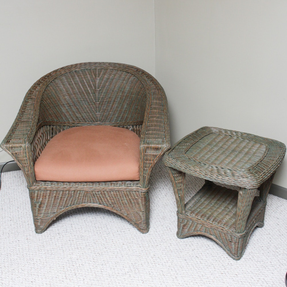 Wicker Armchair and Accent Table