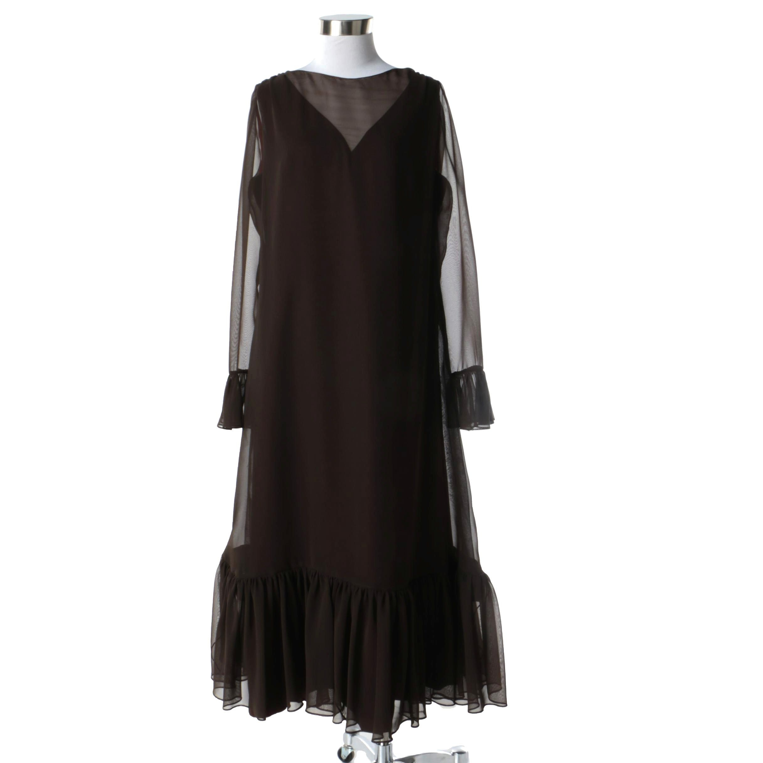 1980s Vintage Gene Roy Chocolate Brown Chiffon Ruffle Silk Midi Dress