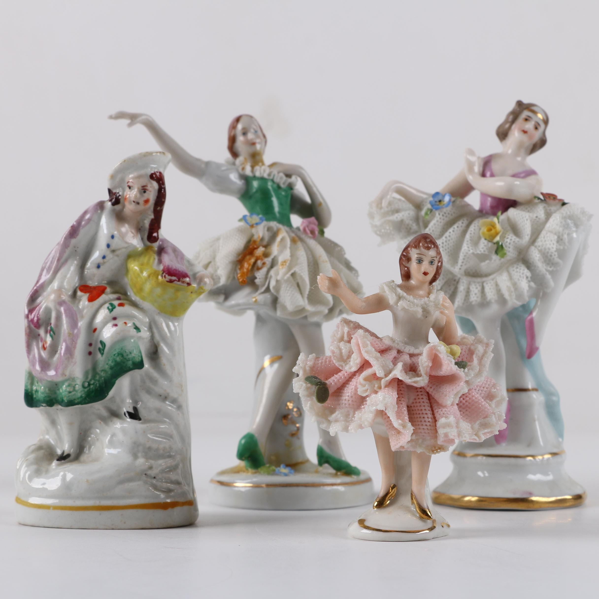 Staffordshire and German Dancing Figurines including Dresden Lace