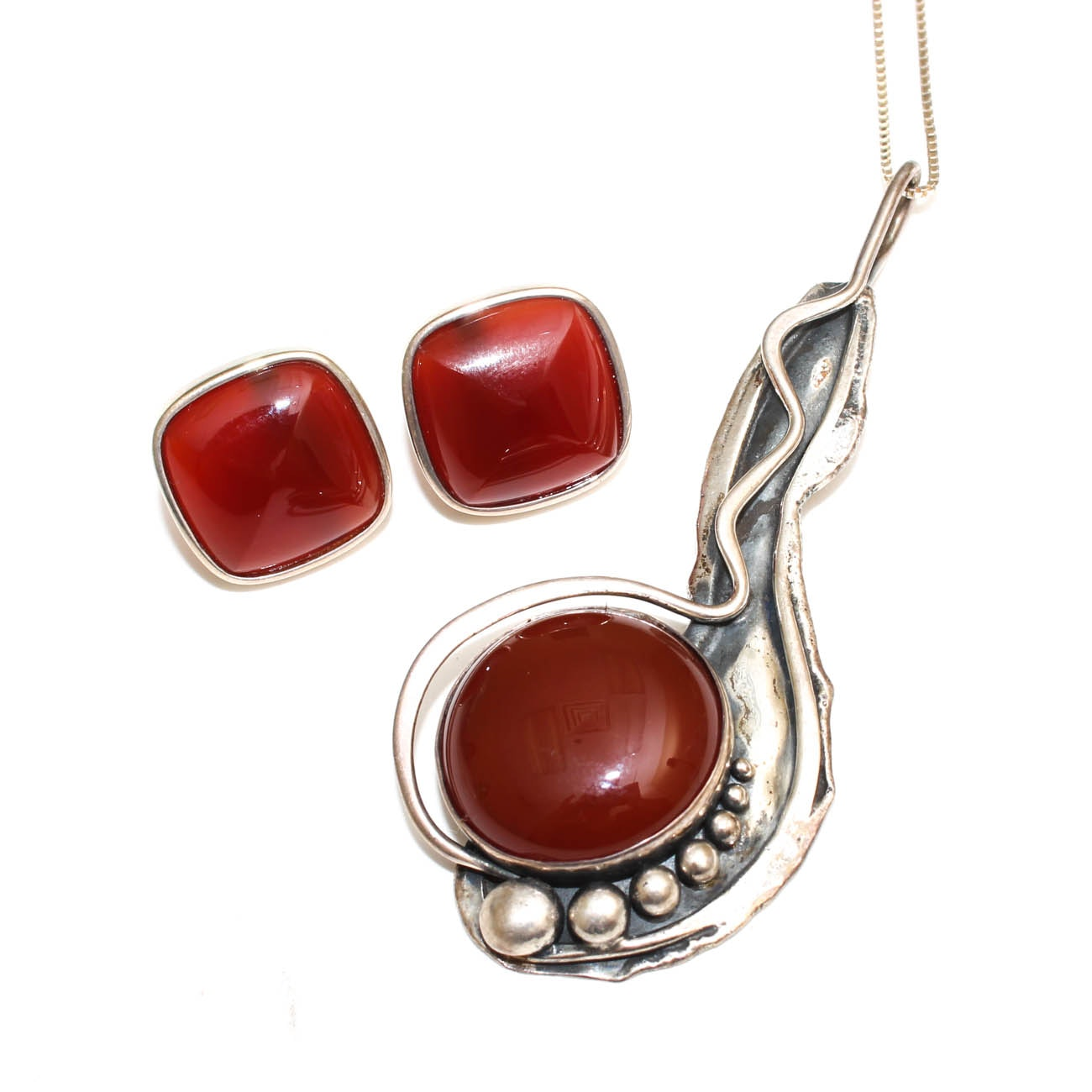 Sterling Silver and Carnelian Modernist Pendant Necklace and Earrings