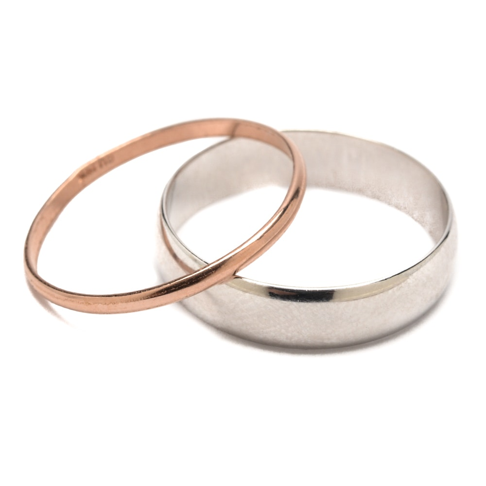 10K White Gold and 14K Rose Gold Rings