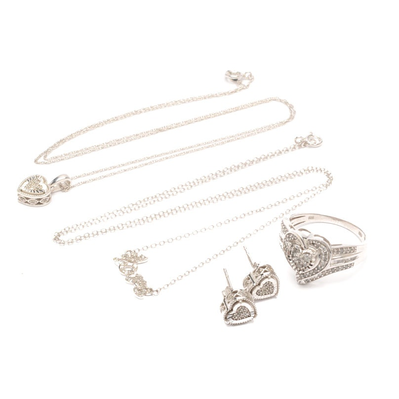 Sterling Silver Diamond Heart and Love Themed Jewelry
