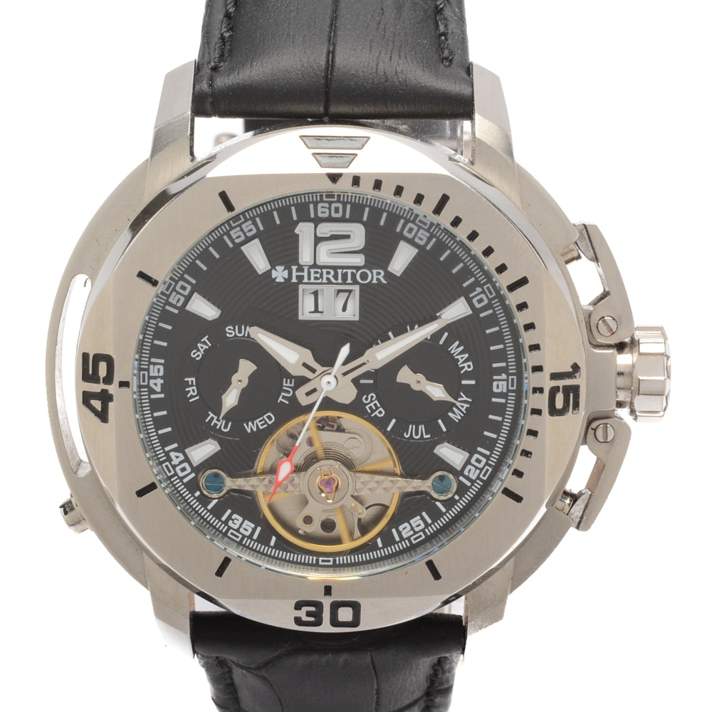 Heritor Stainless Steel Wristwatch with Leather Band