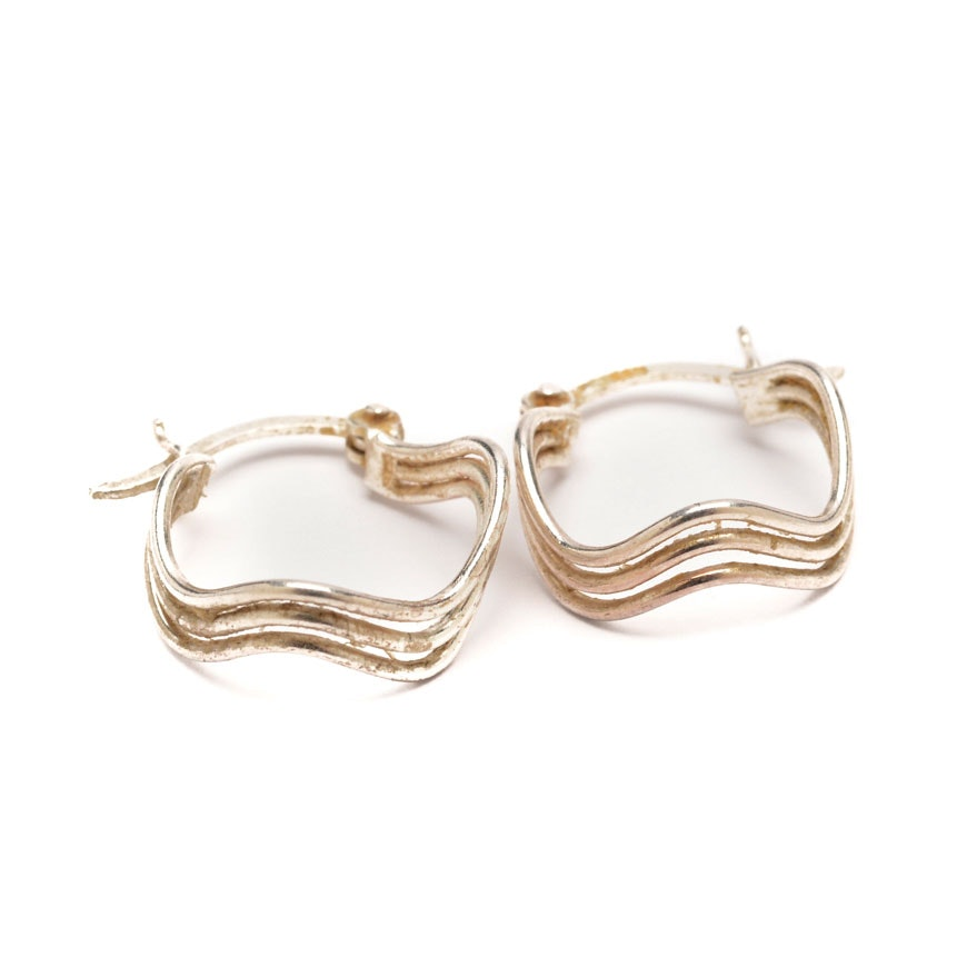Sterling Silver Wave Form Earrings