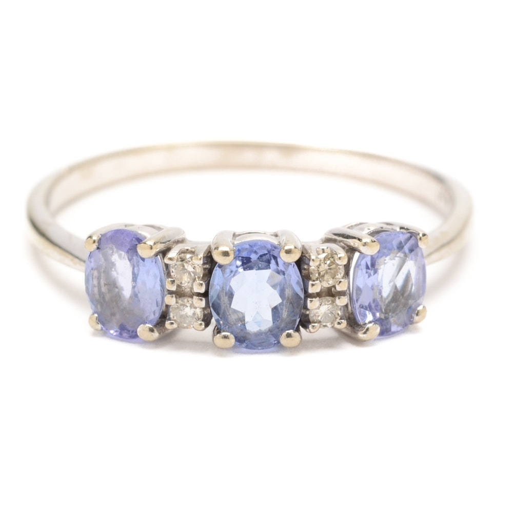Effy 14K White Gold Tanzanite and Diamond Ring