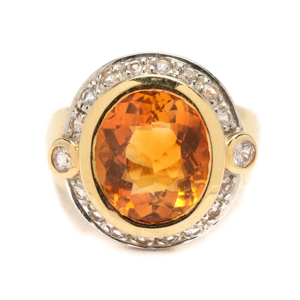 14K Yellow Gold Citrine and White Sapphire Ring