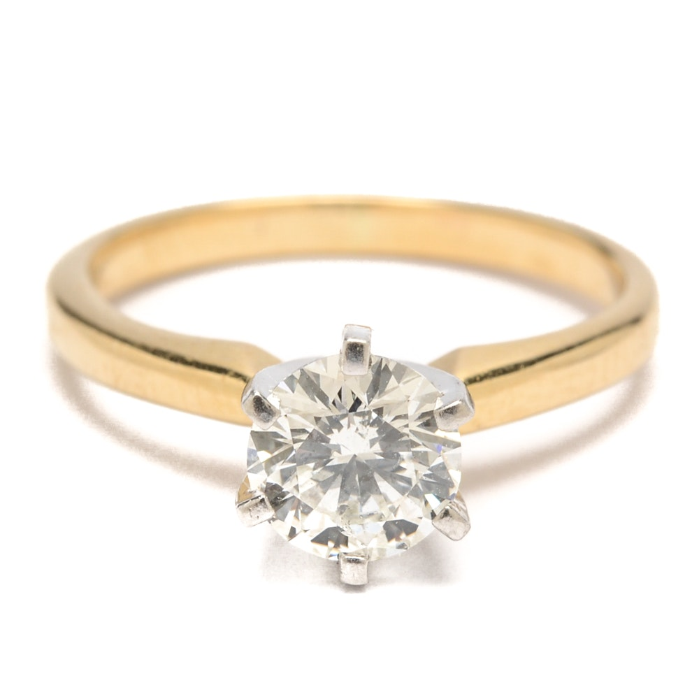 Zales Signature 18K Yellow Gold Diamond Solitaire Ring with Platinum Head