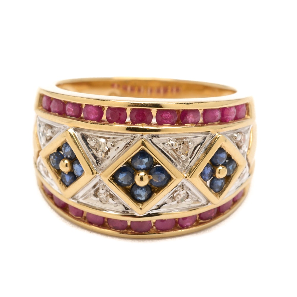 Alwand Vahan 14K Yellow Gold Sapphire, Ruby and Diamond Ring
