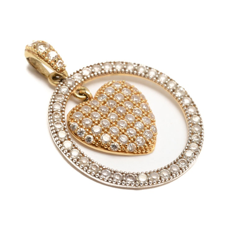 18K Yellow Gold Cubic Zirconia Pendant