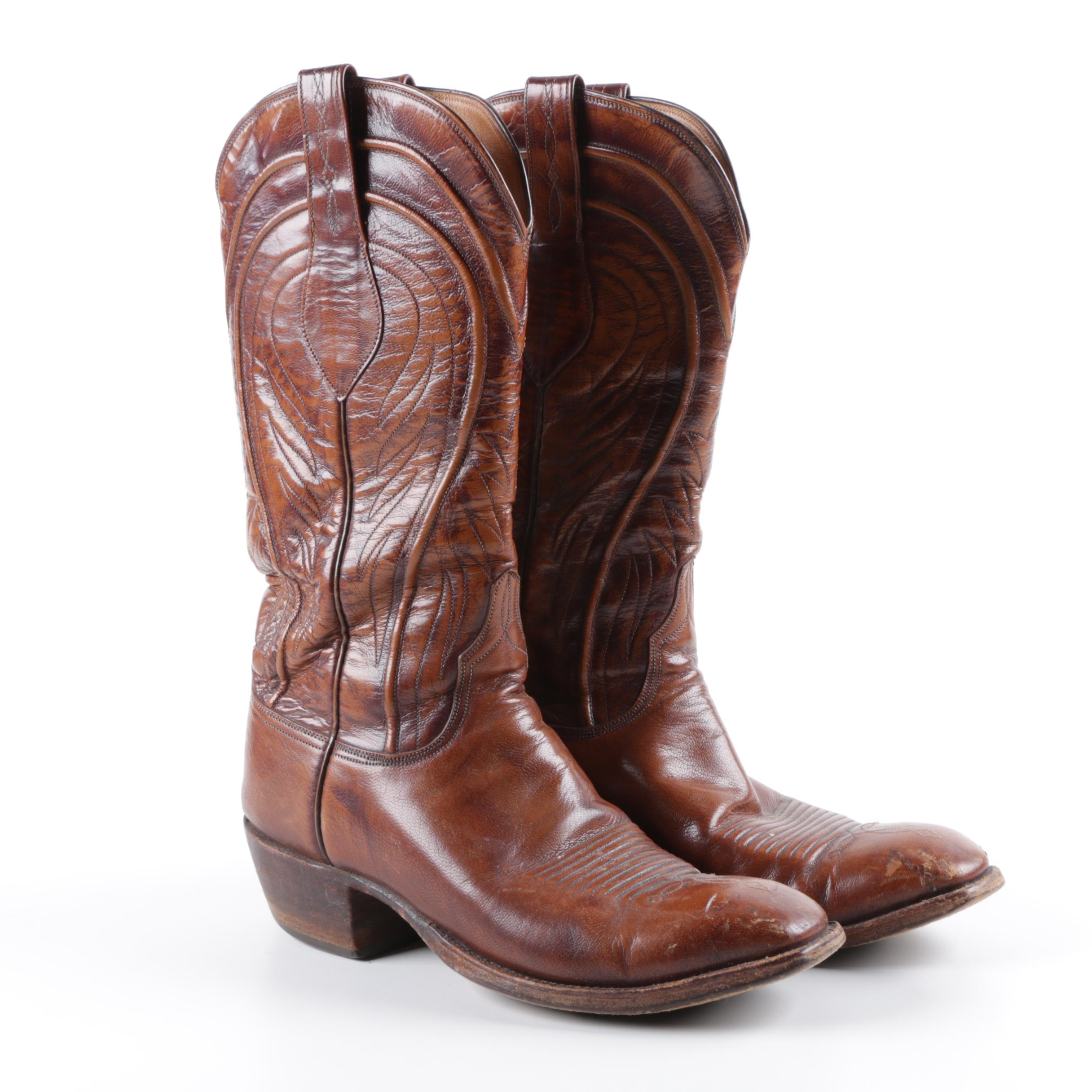 Men's Vintage Lucchese Brown Leather Cowboy Boots