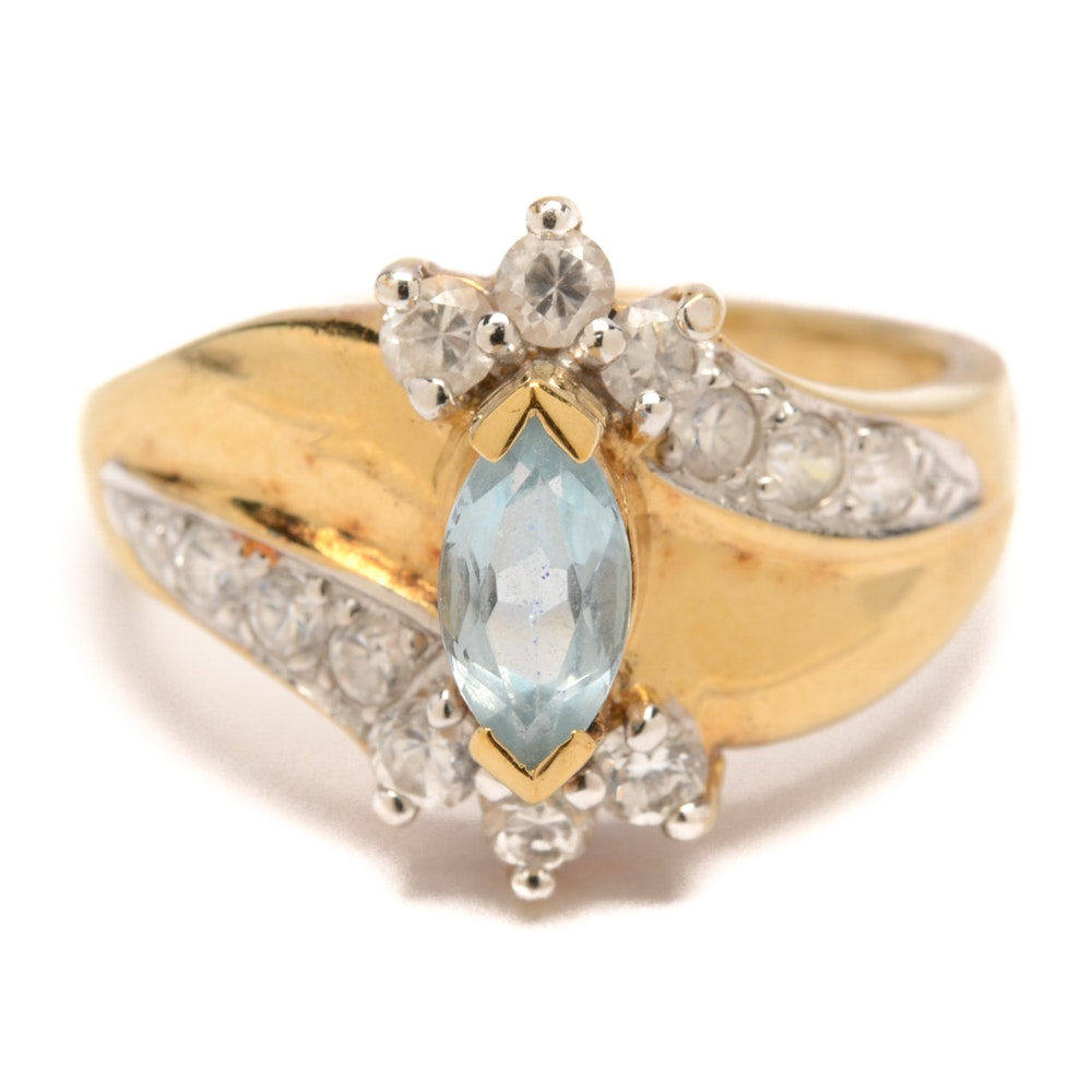 Gold Wash Over Sterling Silver Blue Topaz and Cubic Zirconia Ring