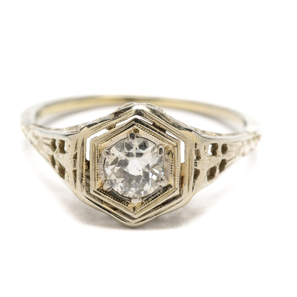 Art Deco 18K Yellow Gold Diamond Ring