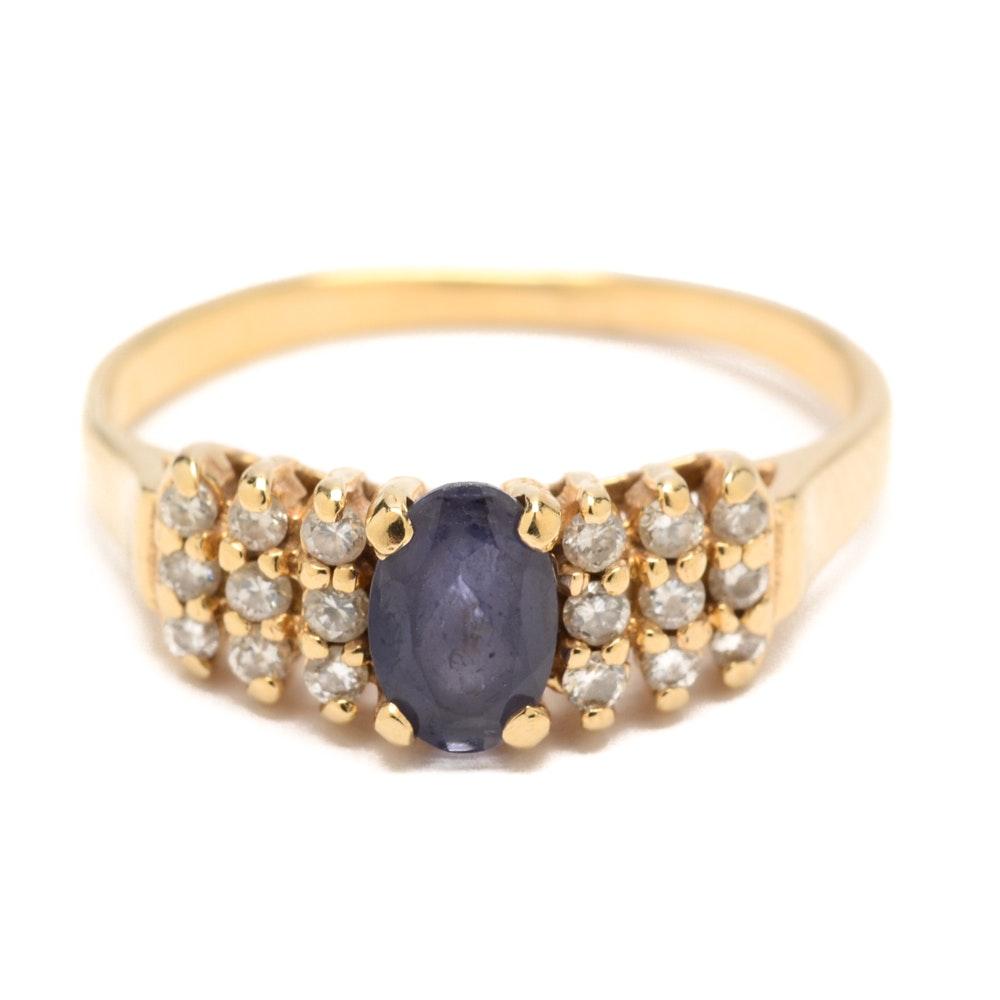 Effy 14K Yellow Gold Iolite and Diamond Ring