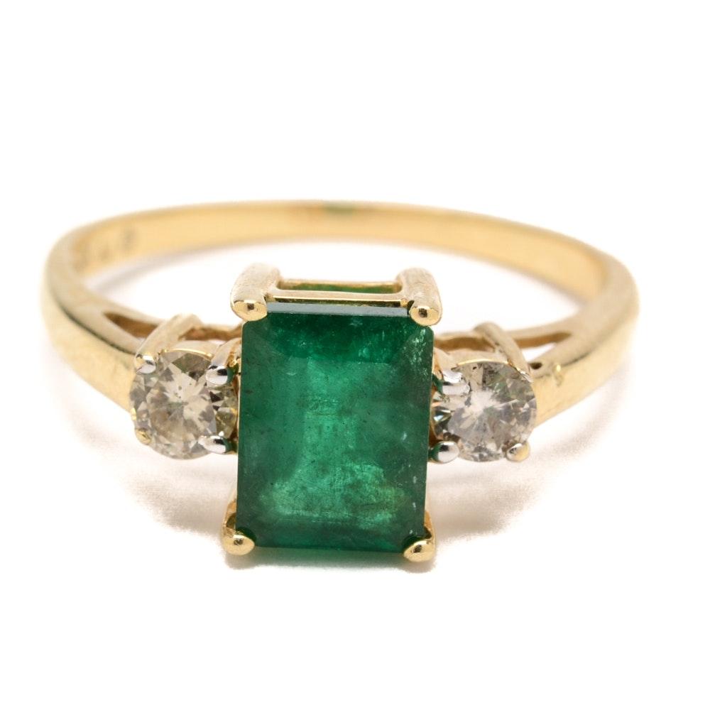 14K Yellow Gold 1.47 CT Emerald and Diamond Ring