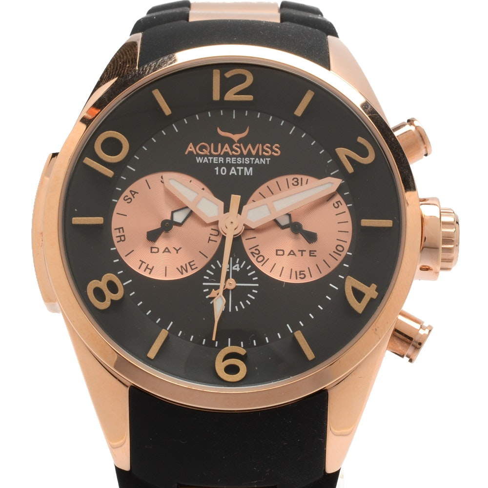 "Aquaswiss ""Trax 5H"" Day and Date Wristwatch with Rose Gold Tone Finish"