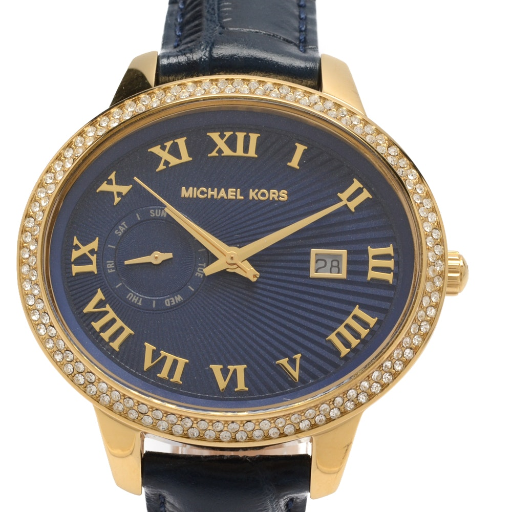 Michael Kors Gold Tone Crystal Bezel Wristwatch