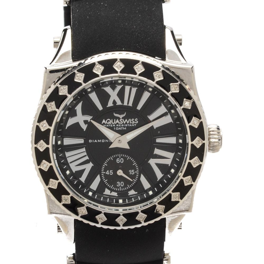 """Aquaswiss """"Swissport L24"""" Wristwatch in Black with Diamond Bezel"""